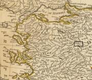 Ville de Kedous / Gediz sur une carte ancienne Turquie de 1794